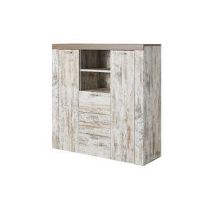 MORNO 46, vysoká kombinovaná komoda white pine/sonoma trufel