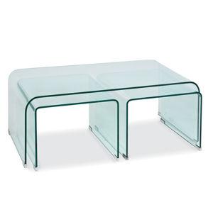 PRIMA A sklený konferenčný stolík z číreho skla