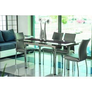GT-018 jedálenský stôl, chróm/tmavobéžové sklo