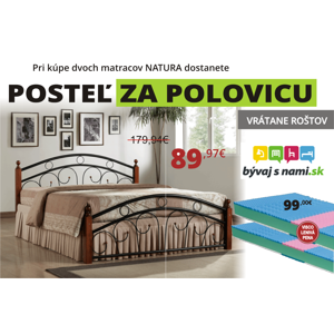 2 matrace NATURAL 90x200 + postel PARIS 180 za POLOVICU