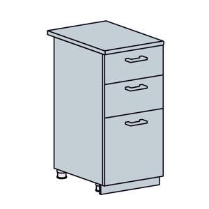 ARTEMIS/VALENCIA dolná skrinka so zásuvkami 40D3S, biela/čierny metalic.
