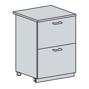 ARTEMIS/VALENCIA dolná skrinka so zásuvkami 60D2S, wenge/biely lesk